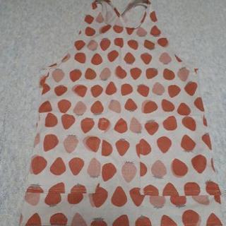 ハンドメイドイチゴ柄バッククロスエプロン