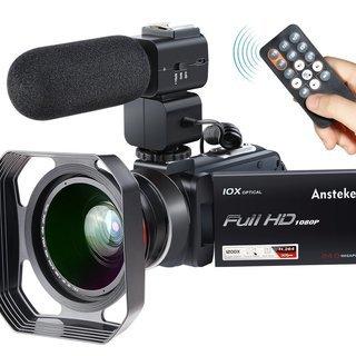 【新古品】FHDビデオカメラ 2400万画素 超広角レンズ 外付...