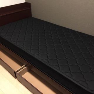 【交渉中】木製シングルベッド(フレームのみ)収納&コンセント付