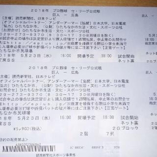 巨人vs広島 5/23 ひたちなか市民球場 ネット裏SS席