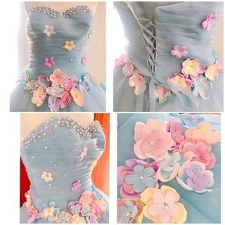 ふんわりチュールとお花沢山ウェディングドレスカラードレス