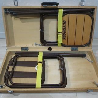 アウトドア 木製 組立椅子 収納ケース付き
