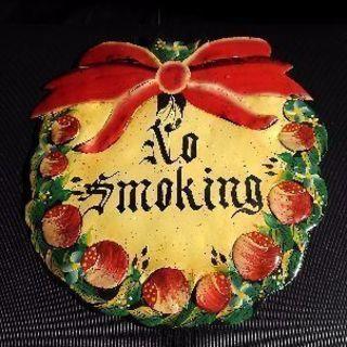 壁飾り 壁掛け レトロ 看板 禁煙 クリスマスリース