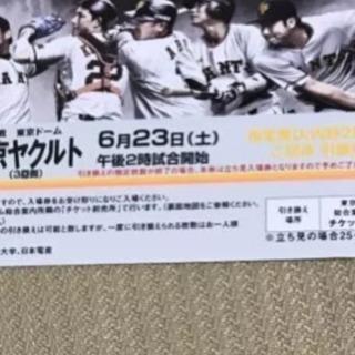 一枚のみ 巨人対東京ヤクルト  6月23日(土)