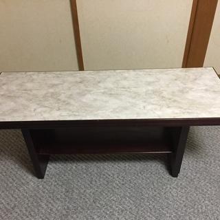 【中古】木製ローテーブル[ダーク・グレー、天板=マーブル模様]