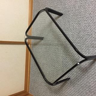 【中古】ガラス天板ローテーブル[黒]