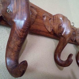 手彫り工芸品 象のスリーハンガー