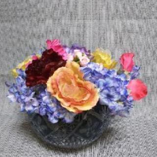 切子花瓶と造花セット