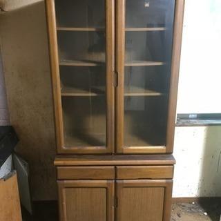 天然木 食器棚 無料で差し上げます