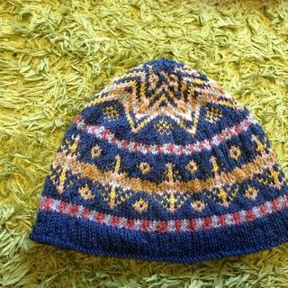 北欧のフェアアイル模様の編み込み帽子 ★ハンドメイド★