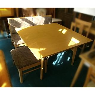 札幌【ダイニングテーブル&2Pベンチ&スツールセット】タモ材 W1...