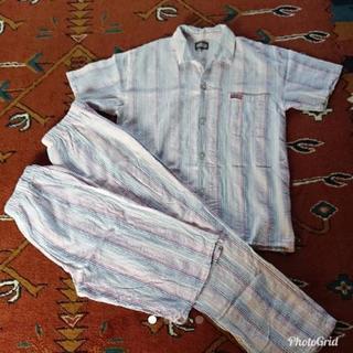 メンズ 半袖パジャマ 上下 ズボン2枚セット