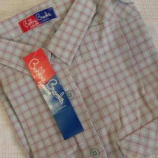 未使用 水色チェックのシャツ    ***