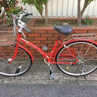中古自転車 レッド 5段変速
