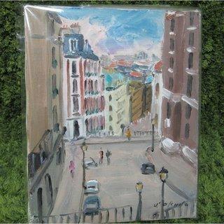 【郵送も可(400円)】 油絵 パリで一番高い丘(モンマル…