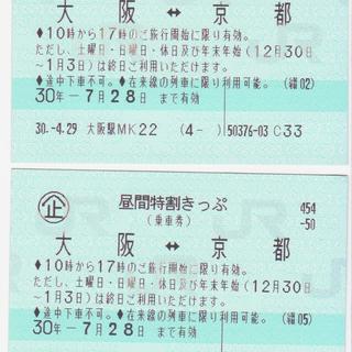【値下げ】大阪~京都 往復 昼得きっぷ 回数券