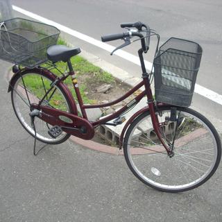 札幌 ママチャリ 24インチ 3段変速 ワインレッド 自転車 ア...