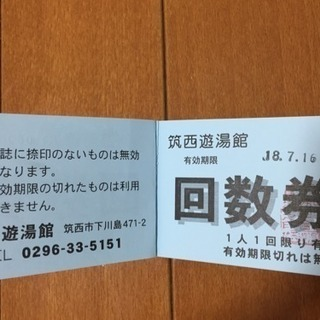 ★値下げ★【送料込】筑西遊湯館 入場券(大人)6枚