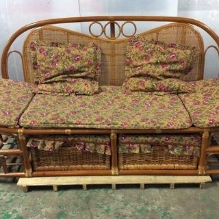 2人用 籐 ソファ 椅子 収納付き 木製ソファ