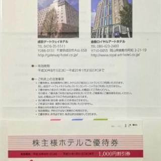 【株主優待】千円引きホテル優待券(H31.01.31迄)