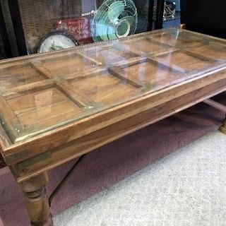 ♪アンティーク◆コレクションテーブル◆古木 楠+ガラス天板◆取り...