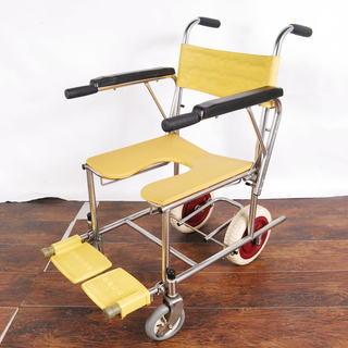 介助用 シャワー用車椅子 肘掛け跳ね上げ式 ステップ跳ね上げ式 タ...