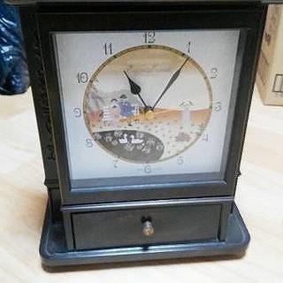 アンティーク レトロ キーケース 小物入れ付き 置き時計