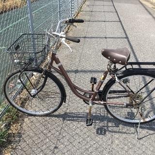 自転車 茶色 6段変速