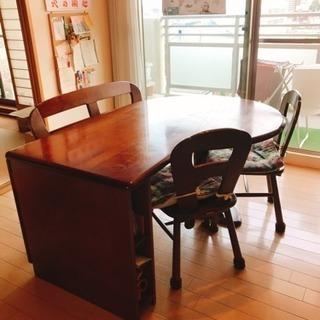 カリモク ダイニングテーブル、椅子×2、ベンチ×1