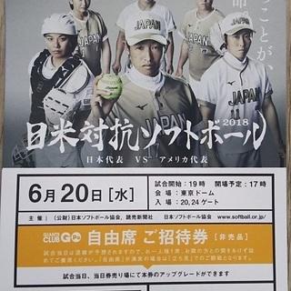 日米対抗ソフトボール 6月20日(水) 自由席の招待券