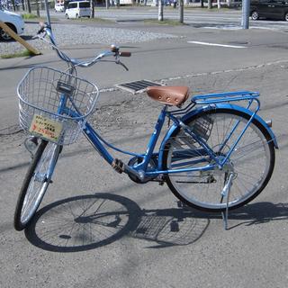 自転車 シティサイクル 26インチ 6段変速 ノーパンクタイヤ 青...