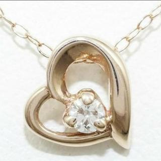 刻印有、k10、ダイヤ0.055ct、ピンクゴールドのハートネックレス