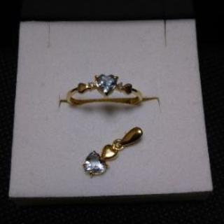刻印有、k18、ダイヤ、アクアマリン、指輪、ペンダントトップ