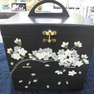 メイクボックス 三面鏡・引出し付き 黒系×花柄 札幌 西岡…