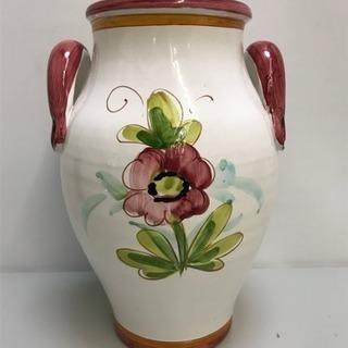 ★イタリア製★ 花瓶 陶器 花柄 取手付き 高さ:約30㎝