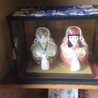 500円 伝統工芸 骨董 アンティーク 姫だるま 1対 ケース入り