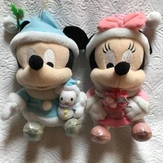 ミッキー&ミニーのぬいぐるみ クリスマスバージョン