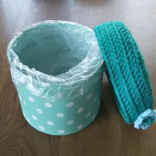 ~かぎ編み雑貨値下げ~*グリーンのミニダストBOX*【ハンドメイド】 - 売ります・あげます