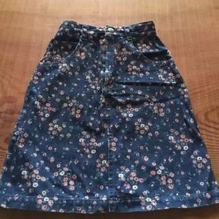 アジャスト付 110cm 小花プリントのキュートなデニムスカート
