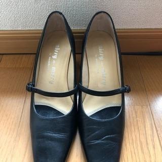 【美品】冠婚葬祭 ヒール 革靴 黒 23㎝