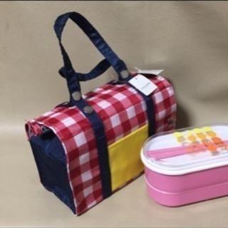 【新品】ランチボックス用保冷バッグ チェック 赤