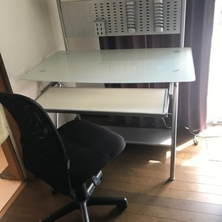 パソコンデスク ガラス天板 椅子セット
