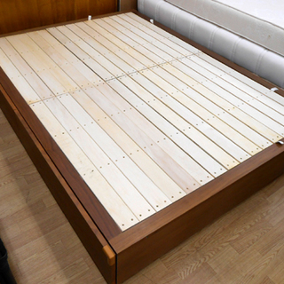 無印良品 収納ベッド・ダブル・ウォールナット材 幅148.5×奥行...