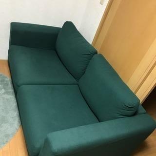 IKEA製 2人掛けソファ ダークグリーン