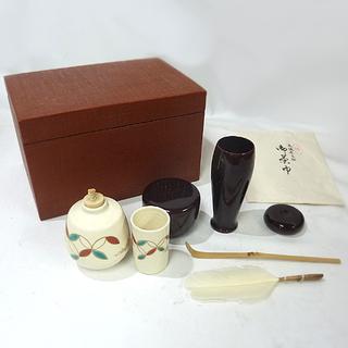 札幌 美品 茶道具 布目 漆茶箱 紫峰作 振出し 茶巾筒 他  白石区