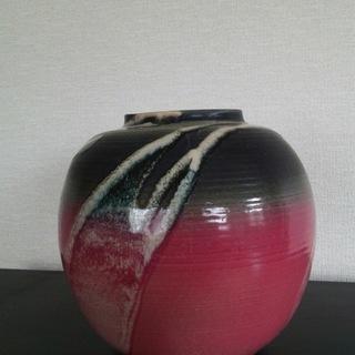 【中古】清水焼 花瓶☆直径21cm x 高さ21cm