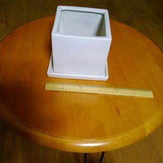 植木鉢 おしゃれ ストーンポット 17cm 陶器鉢 白 石 四角