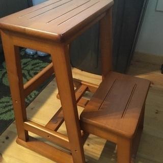 オール天然木製 2段式ステップチェアー(踏み台)