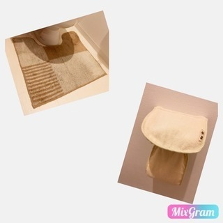 トイレマット&トイレットペーパーカバー 2点セット