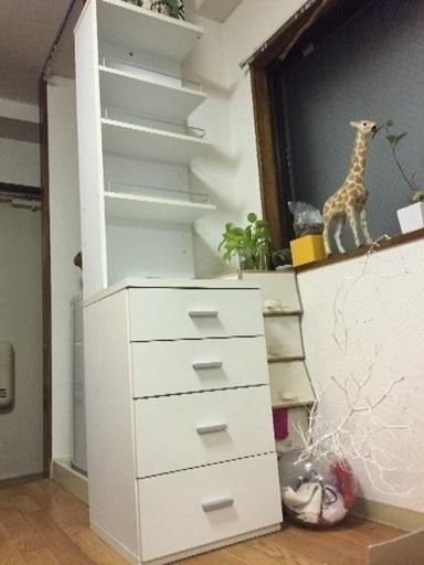 値下げ中】縦長の白い棚/キャビネット (アサコ) 杉並の収納家具